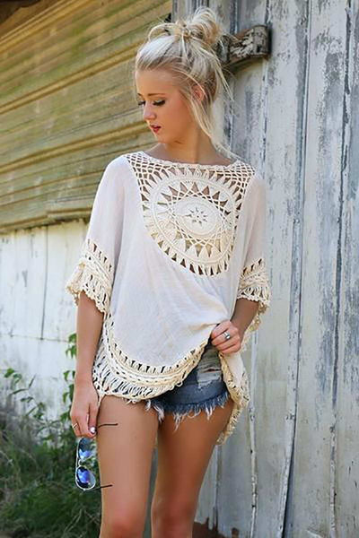 Online discount shop Australia - Big size bohemian handmade crochet lace women blouses shirts beach cover up patchwork loose batwing sleeve pareos ladies blouse