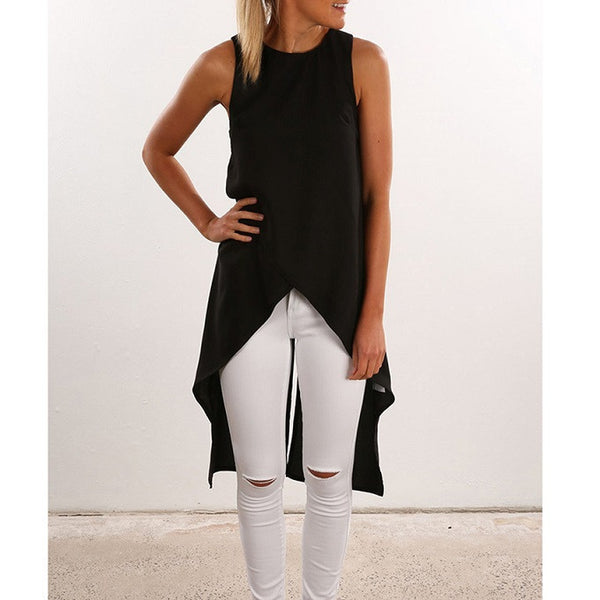 Online discount shop Australia - Fashion Women Ladies Casual Sleeveless Vest  Shirt Long Tops Dress ND029