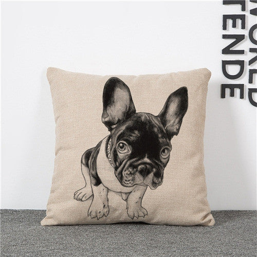 Online discount shop Australia - Cushion Cover Lovely Cute Pug Dog Pillowcases Cotton Linen Printed 18x18 inches Euro Pillow Covers Decorative Pillows