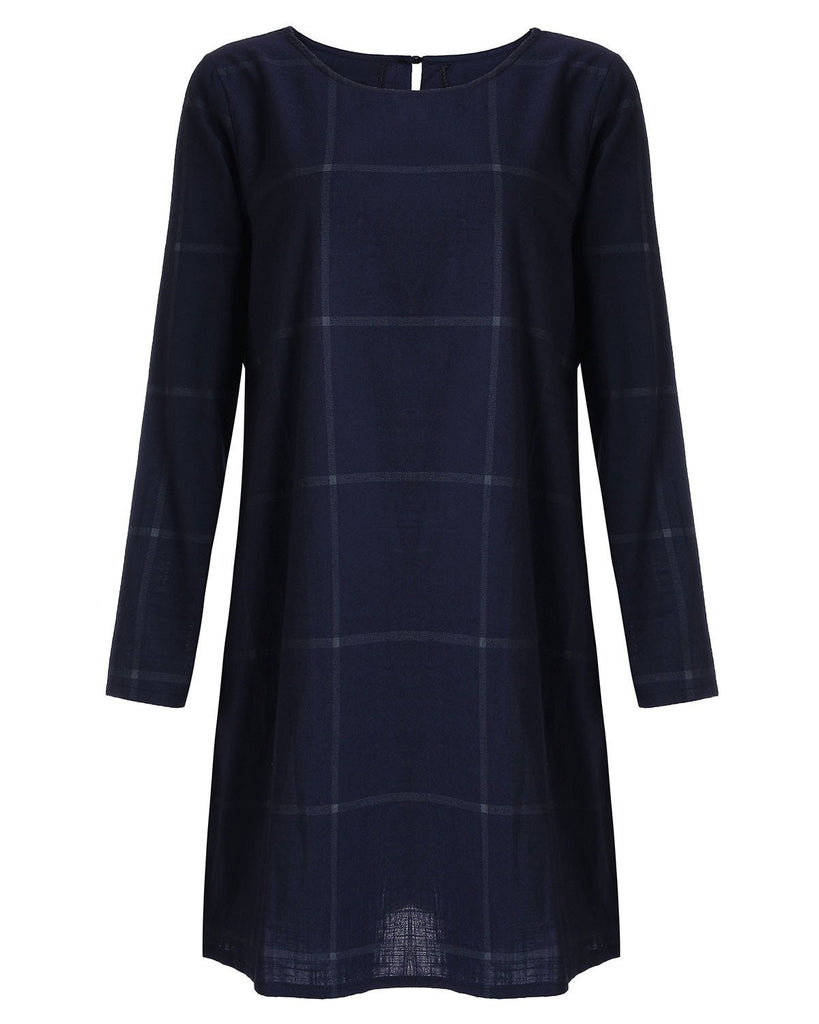 Winter Vintage Women Loose Dress Oversize Faux Linen Cotton Plaid Checked Short Dresses Loose female