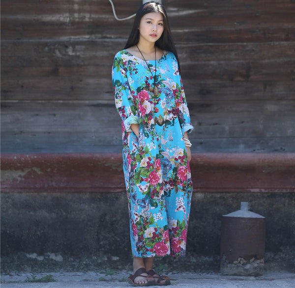 Online discount shop Australia - Dress O-neck Flower Print with Butterfly Loose Casual Linen Dresses Vintage Women Dress Vestidos S36