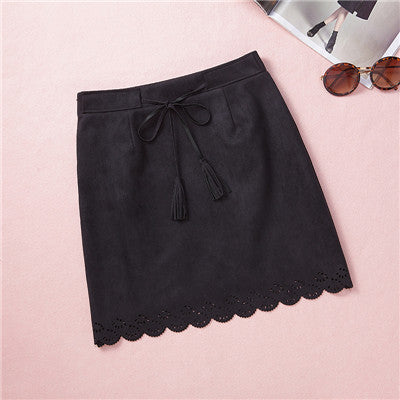 Online discount shop Australia - bodycon soft Suede Skirt Ethnic Style retro Hollow Out High Waist Skirts with Sashes Retro