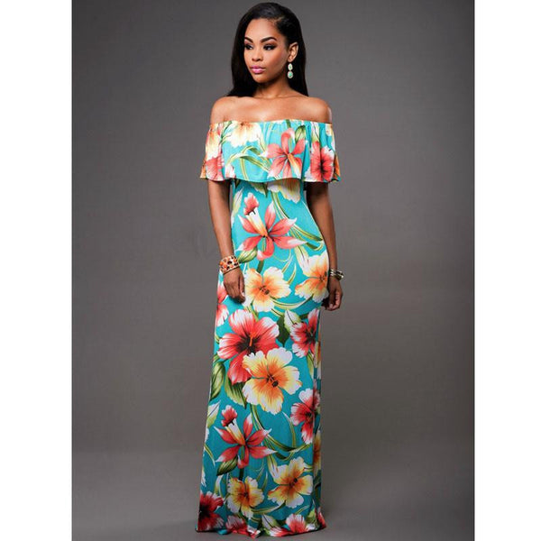 Sexy Retro Casual Beach Maxi Dress Women Summer Off the Shoulder Dresses Bandage Sleeveless Long Bodycon Ruffle Dress Robe