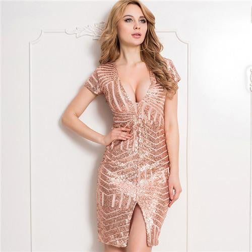 Women Bodycon dress V-neck Sleeveless Knee Length Sexy Club Dress Rose Gold Nude Midi Sequin Dress