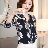 New Chiffon Blouse Women Printed Plaid Shirts Long Sleeve Tops Plus Size Office Shirt