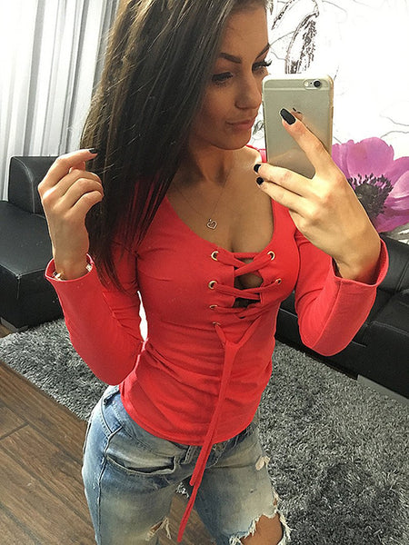 Sexy Bandage Lace Up Long-Sleeve Shirt Women Deep V T Shirts Female Tops 5 Colors LX068