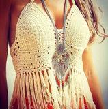 Online discount shop Australia - Lace crochet top   style fringe tops bralette sexy crop top tassel knitted camis fitness women top strappy bra