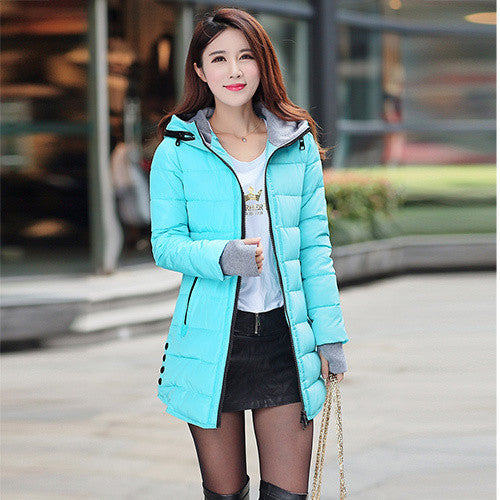 Online discount shop Australia - jacket women wadded jacket female outerwear slim young girl  coat women medium-long cotton-padded jacket parka