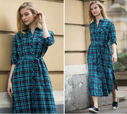 55c855d45b2b Online discount shop Australia - Long Plaid Shirt Dress Long Sleeve Women  Cotton Long Shirtdress for