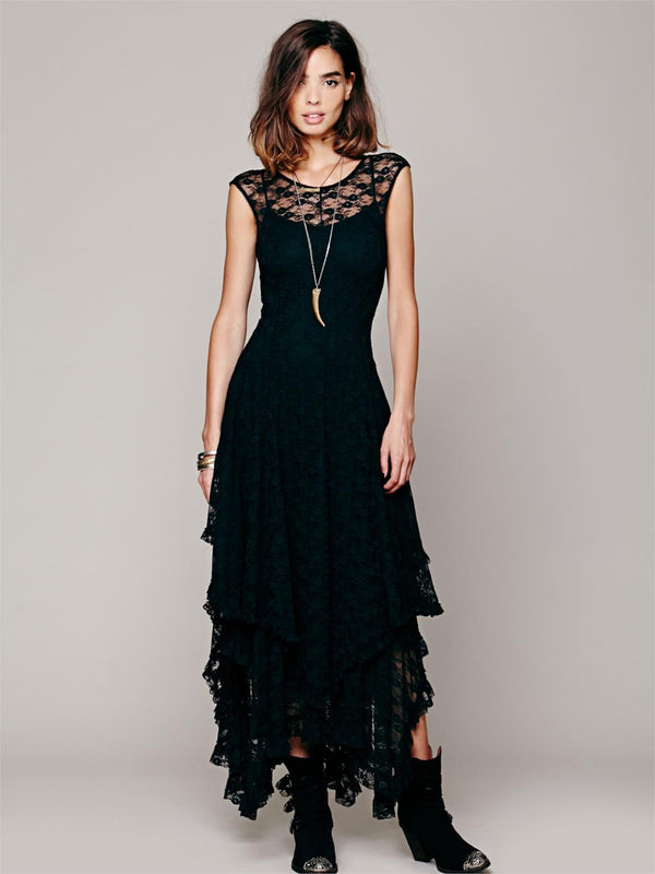 0212b9010fd2 Boho People hippie Style Asymmetrical embroidery Sheer lace dresses double  layered ruffled trimming low V-