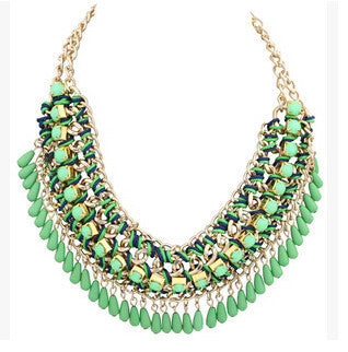 Online discount shop Australia - Layered Bohemian Tassel Fringe Drop Vintage Weave Multilayer Collar Necklace Choker Chain Bib Statement Necklace & Pendants