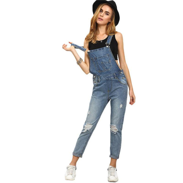 a08c5be6334 Women Jumpsuits and Rompers Sleeveless Womens Outfits Strap Blue Ripped  Stone Wash Denim Overall Jumpsuit