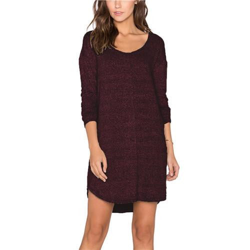 Women Dresses Fashionable Clothing Plain Long Sleeve V Back Backless Shift Short T-shirt Dress