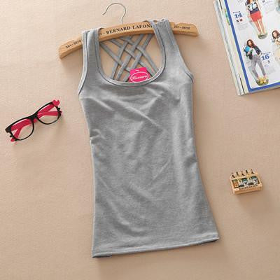 Online discount shop Australia - Fashion Casual  Women Basic Cotton Sleeveless Tank Tops Vest Tops Candy Color Vest Tank Tops