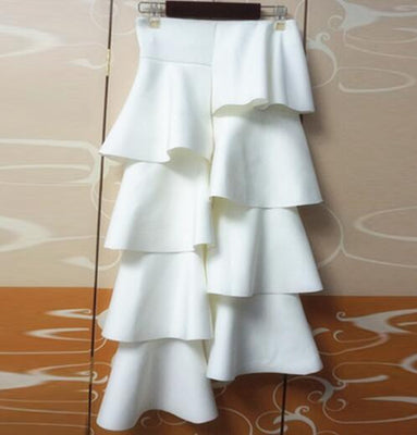 Online discount shop Australia - Cake Skirt Space Cotton Women Ruffles Maxi Dress Irregular Casual Solid Color Long Skirt