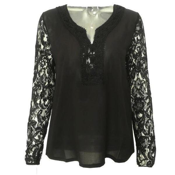 Women Lace Chiffon Tops Long sleeve V neck Blouse Vintage women clothes Plus Size