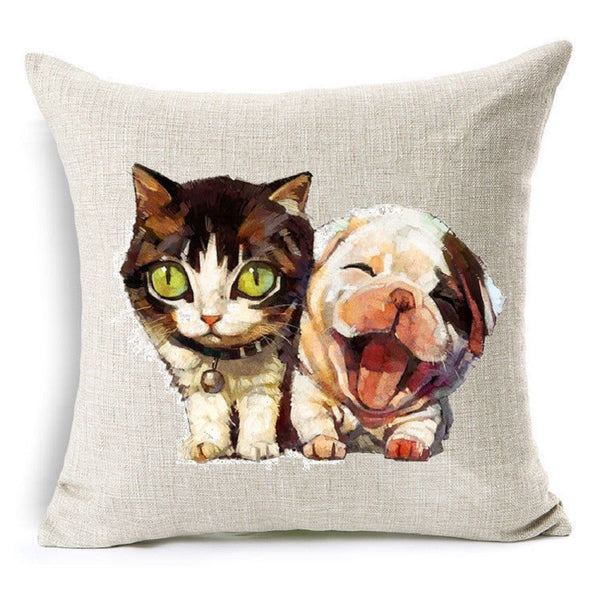 Online discount shop Australia - Cute Animal Cat Dog Panda Decorative Cushion Cover Cotton Linen Cushion Decorative Pillow Cace 45x45CM Square Throw Pillow Cover