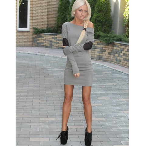 Online discount shop Australia - Fashion Sexy Women Off Shoulder Long Sleeve Short Mini Dress Casual Clubwear Dresses PL1
