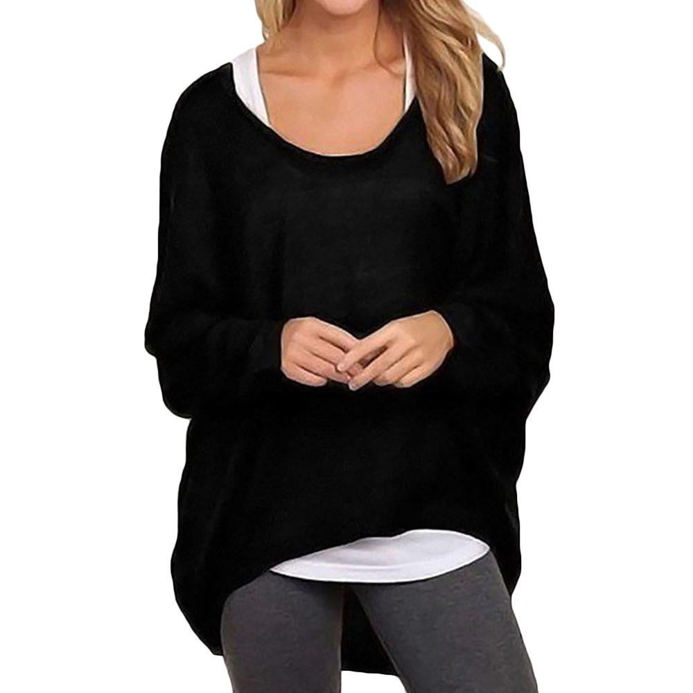 Oversized T Shirts Baggy Women Long Sleeve Tops Tee Casual Women Clothing Loose Jumper Bat Pullover T-shirtas photoLa