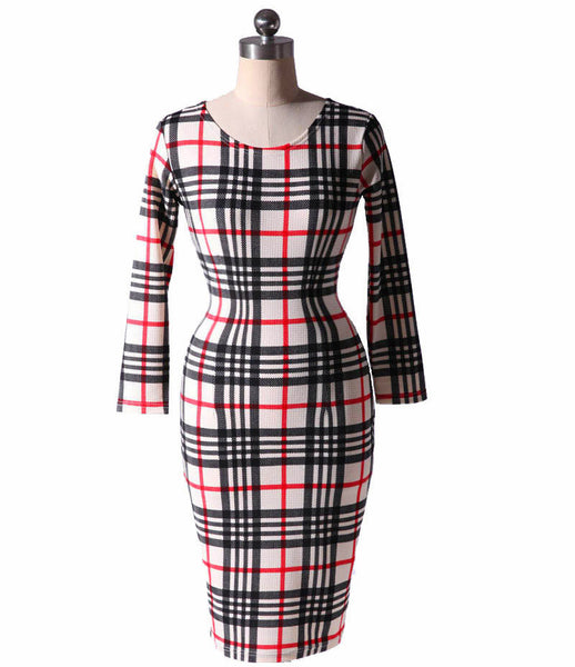 Plus Size 6XL Spring Fashion Women Long Sleeve O-Neck Floral Print Striped Plaid Casual Bodycon Dress 5XL XXXXL Elegant OL