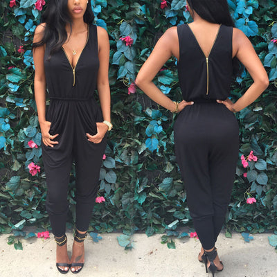 Online discount shop Australia - Brand Elegant Womens Rompers Jumpsuit Casual Solid Bodysuit Sleeveless Crew Neck Long Playsuits Plus Size