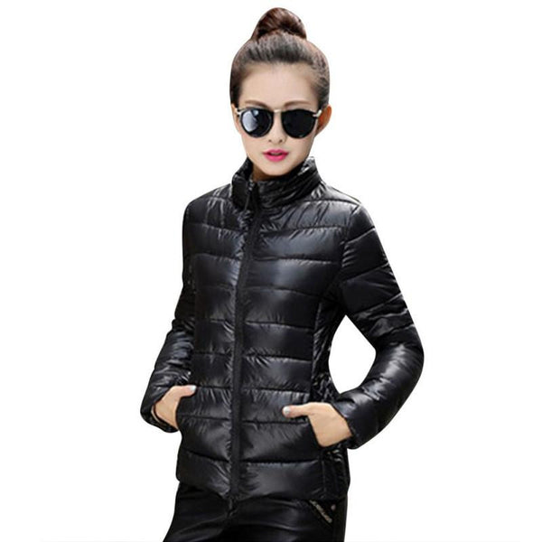 Online discount shop Australia - 8 Colors Women Warm Ultra Light Cotton Blend Long Sleeve Zipper Jacket Outwear Coat LH12