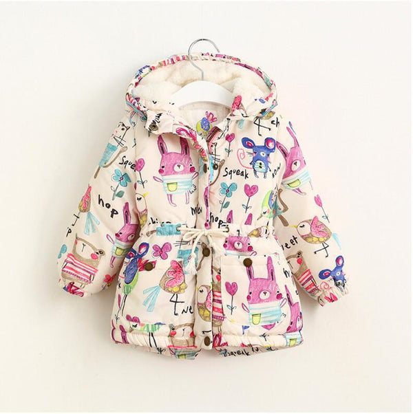 b5f5296d32757 Jackets & Coats Girls Graffiti Parkas Hooded Baby Girl Warm Outerwear  Cartoon Animal Children's Jacket