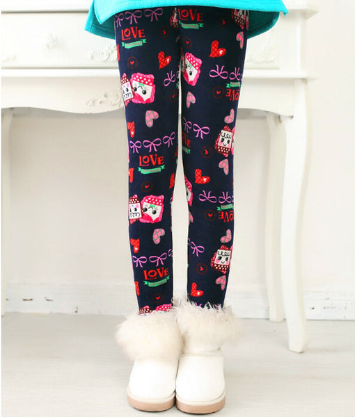 Online discount shop Australia - Girls Leggings Thick Warm Kids Pants Flower Children Velvet Trousers Baby Girl Clothes Leggings