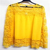 Online discount shop Australia - 5XL push size Women Chiffon Blouses Fashion Lace long Sleeve Shirt Crochet Tops XXXL