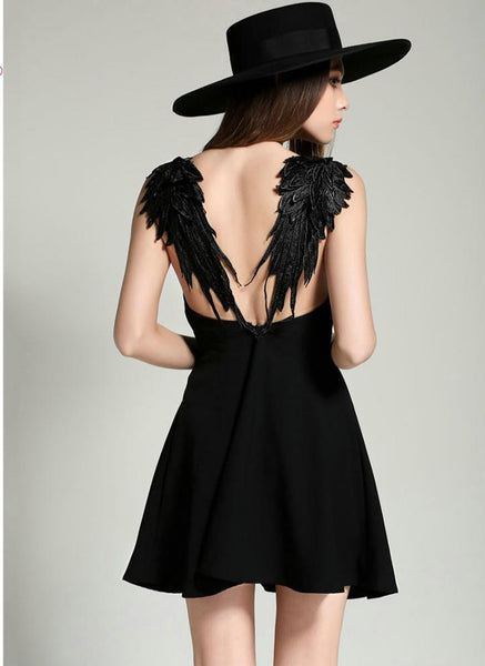 Online discount shop Australia - 2 Colors Feather Spaghetti Strap Backless Mini Skater Dress Sleeveless Casual Sexy Clubwear Party Dresses Summer Women