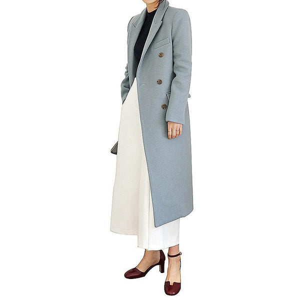 Women's Long Wool Blends Fashion Korean Style Slim Blue Khaki Black Woolen Outweare Coats Coat Women