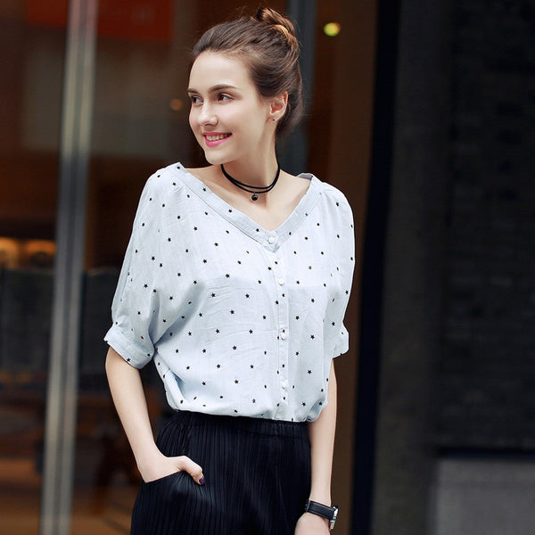 Online discount shop Australia - New Arrival Fashion Women Shirt Kawaii Half Sleeve Slash Neck Harajuku  Women Top Tees Women's Blouses