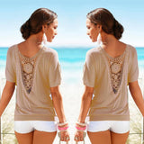 Women Blouses Lace Short Sleeve plus size Blouse Casual solid Tops Shirt vetement
