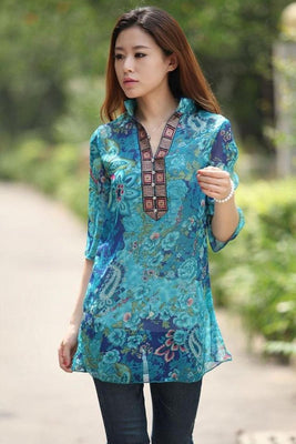 Women Chiffon Blouse Embroidery Vintage Shirt