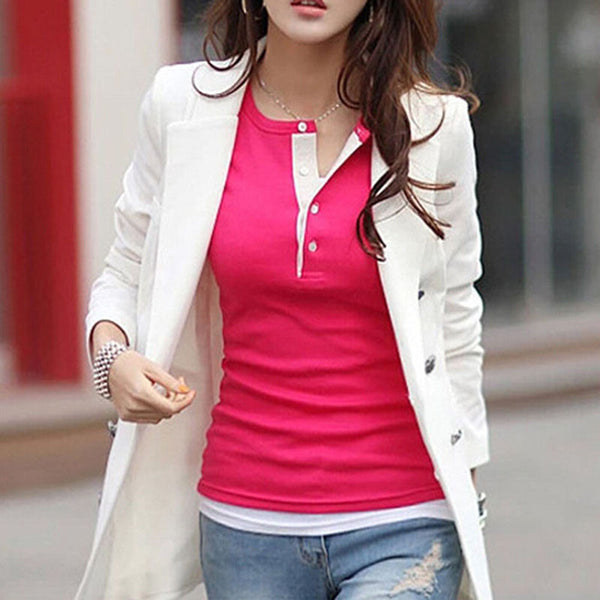 Online discount shop Australia - 5 Colors Women Long Sleeve Cotton Shirt Slim Ladies Tops Blouse Sweater
