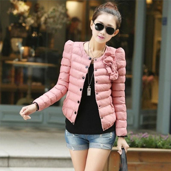 women ZAB jacket to keep warm ladies fashion bow Slim short jacket Outerwear