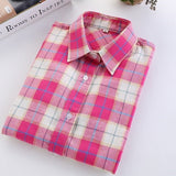 Online discount shop Australia - Fashion Plaid Shirt Female College style women's Blouses Long Flannel Shirt Plus Size Cotton Office tops