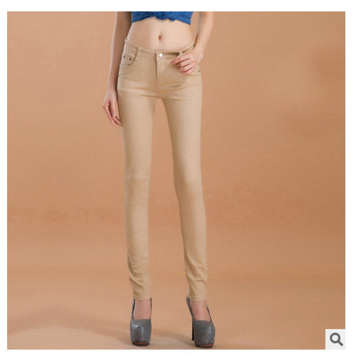 Online discount shop Australia - female slim show thin candycolor pencil denim pants / women's solid color casual carry buttock jeans