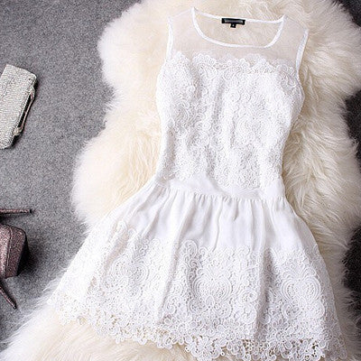 New Fashion Large size Summer Dress Slim Dress Round Neck Sleeveless Sexy Lace Women Dress vestidos Party Dresses