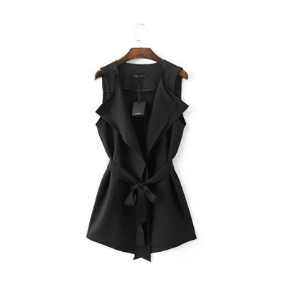 Women Ruffles Collar Vest OL Work Black White Vest With Sashes Asymmetric Length Ladies'Elegant Waistcoat