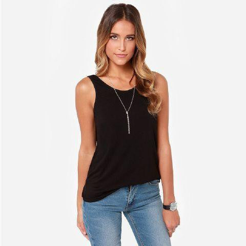 Online discount shop Australia - Hot Women Lady Black Grey Deep-V Backless Sleeveless  Tank Top Sexy Vest Shirt Elastic Cotton Casual T-Shirts