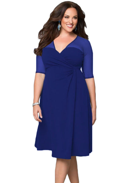 Online discount shop Australia - Hot XXL big size summer women Casual clothing for party Black V Neck Half Sleeve Sugar and Spice Plus Size dress LC60671