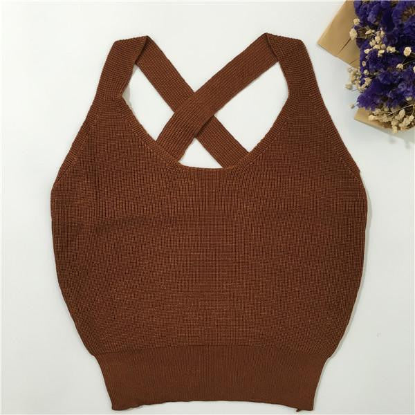 Women Fitness Crop Top Short Knitted Cami Round Neck Cross Back Women Crop Tops Short Bustier Crop Top