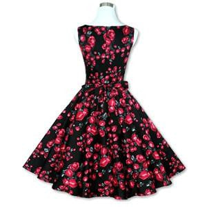 Sexy Women\'s Vintage 50s 60s Floral Rockabilly Tutu Pinup Sleeveless Bodycon Evening Party Clubwear Formal Dress