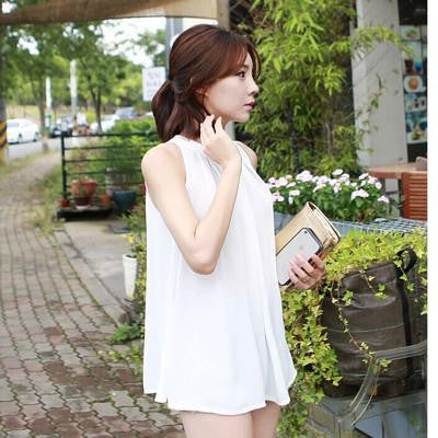 Tanks Women's Blouse Body Chiffon Women Shirt New tunics Tops Female Casual Clothing Ladies Shirts White FashionWhiteMa