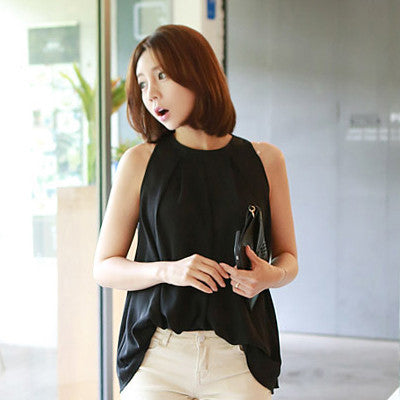 Tanks Women's Blouse Body Chiffon Women Shirt New tunics Tops Female Casual Clothing Ladies Shirts White FashionBlackXLa