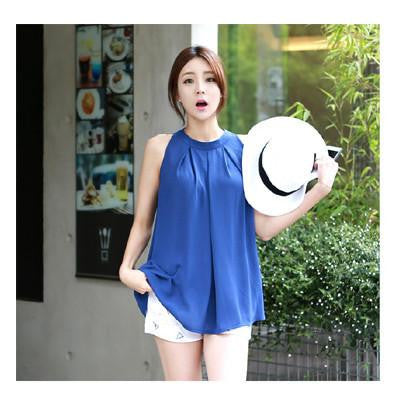 Tanks Women's Blouse Body Chiffon Women Shirt New tunics Tops Female Casual Clothing Ladies Shirts White FashionBlueXLa