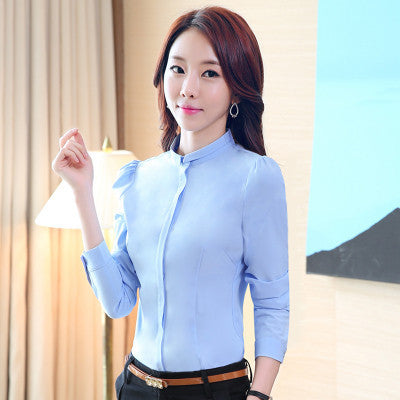 Online discount shop Australia - Formal White Blouse Stand Collar Women Work Wear OL Career Shirt Long Sleeve Plus Size S-XXL T51297