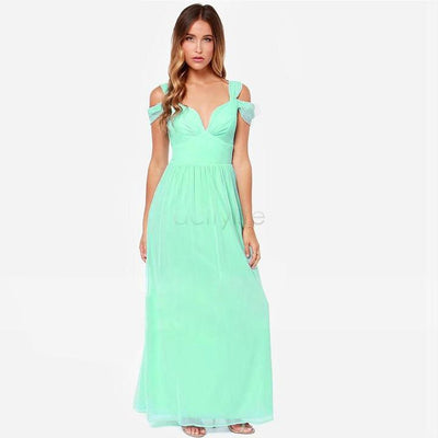 Women Casual Dress Summer Fashion Long Elegant Chiffon Dress Deep V-Neck Split Sexy Party Maxi Dress Strap