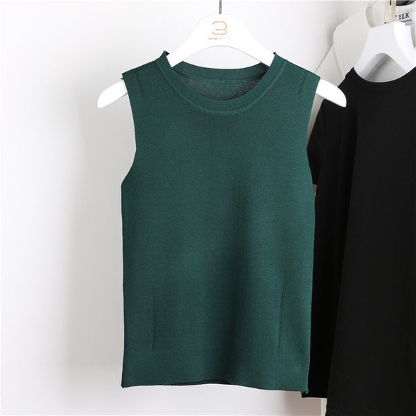 Ocean-q 9 Color Solid High Knitted Elastic Base Sleeveless Vest Ladies Halter Crochet Tank Top Women